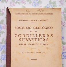 Libros de segunda mano: 1944 BOSQUEJO GEOLOGICO CORDILLERAS SUBBETICAS EDUARDO ALASTRUE GEOLOGIA. Lote 49235420