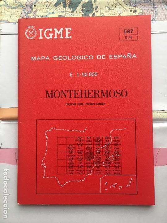 MAPA GEOLOGICO DE ESPAÑA MONTEHERMOSO ESCALA 1: 50.000 SEGUNDA SERIE 1 EDICION IGME (Libros de Segunda Mano - Ciencias, Manuales y Oficios - Paleontología y Geología)