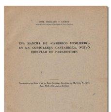 Libros de segunda mano: JOSÉ ABOLLADO ARIBAU.– UNA MANCHA DE «CÁMBRICO FOSILÍFERO» EN LA CORDILLERA CANTÁBRICA. 1944. Lote 221645968
