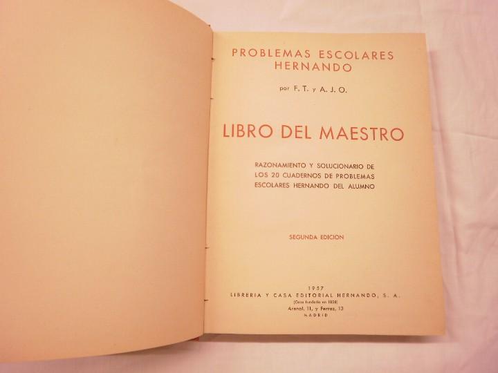 Libros de segunda mano de Ciencias: PROBLEMAS ESCOLARES HERNANDO 1957 - Foto 2 - 110573911