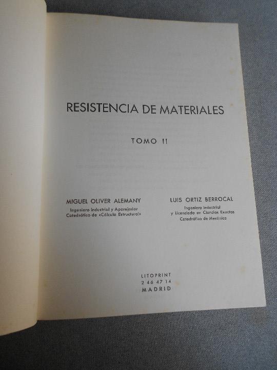 Libros de segunda mano de Ciencias: RESISTENCIA DE MATERIALES. TOMO II - Foto 2 - 111805023