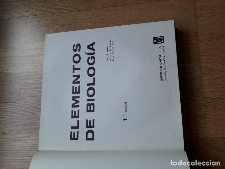 Libros de segunda mano: ELEMENTOS DE BIOLOGÍA / PAUL B. WEISZ / EDICIONES OMEGA, 1ª EDICIÓN - 1968 - Foto 2 - 111848423