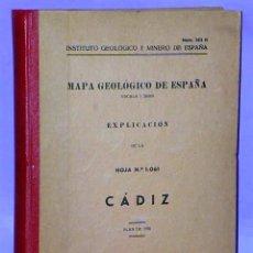 Libros de segunda mano: MAPA GEOLÓGICO DE ESPAÑA. ESCALA 1: 50.000. EXPLICACIÓN DE LA HOJA N.º 1.061. CÁDIZ.. Lote 112026019