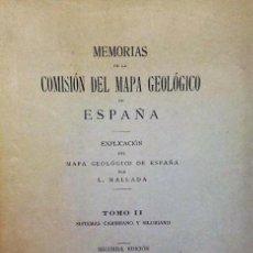 Libros de segunda mano: EXPLICACIÓN DEL MAPA GEOLÓGICO DE ESPAÑA, TOMO II.- SISTEMAS CAMBRIANO Y SILURIANO.. Lote 112079007