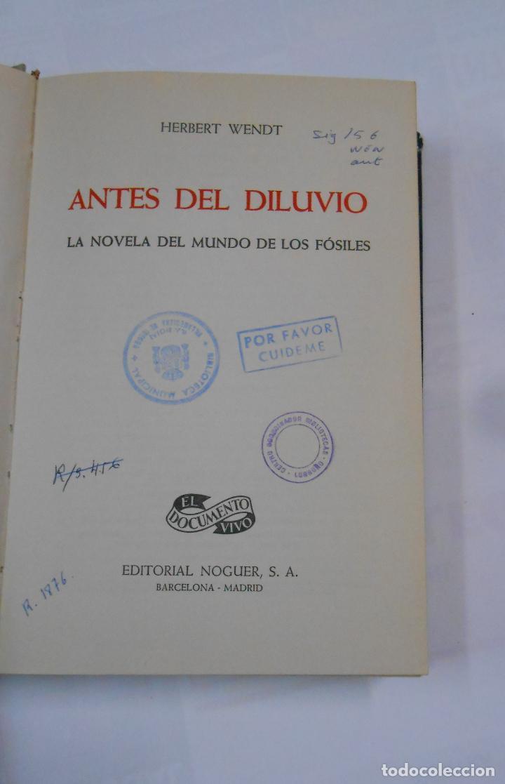 Libros de segunda mano: ANTES DEL DILUVIO. - HERBERT WENDT. - EDITORIAL NOGUER. TDK333 - Foto 2 - 112503059