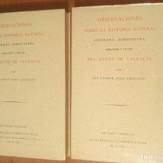 Libros de segunda mano: OBSERVACIONES SOBRE EL REYNO DE VALENCIA. (1795) A.J. CAVANILLES FACSÍMIL 1972 DOS TOMOS. ESTUCHE. Lote 113711047