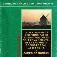Libros de segunda mano: FERTILIDAD PRINCIPALES SUELOS AGRÍCOLAS ZONA ORIENTAL PROVINCIA DE CIUDAD REAL (1992) SIN USAR. Lote 113994527