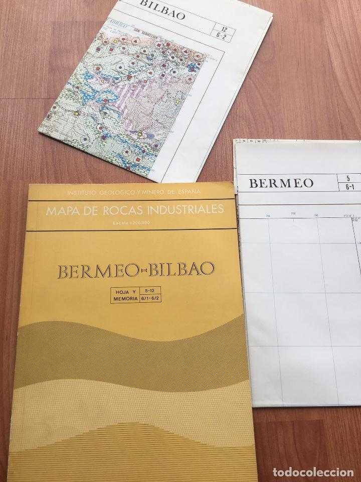 MAPA DE ROCAS INDUSTRIALES BERMEO BILBAO HOJAS 5-12 MEMORIA 6/1 6/2 ESCALA 1: 200000 IGME 1974 (Libros de Segunda Mano - Ciencias, Manuales y Oficios - Paleontología y Geología)