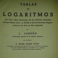 Libros de segunda mano de Ciencias: TABLAS DE LOGARITMOS, DE TRIGONOMETRÍA Y DE INTERPOLACIÓN L. SCHRON 1942. Lote 115337835