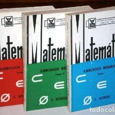 Libros de segunda mano de Ciencias: EJERCICIOS RESUELTOS DE MATEMÁTICAS 3T POR EDMOND BERREBI DE ED. PARANINFO EN ZARAGOZA 1968. Lote 153621430