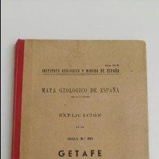 Libros de segunda mano: MAPA GEOLOGICO DE ESPAÑA. EXPLICACION DE LA HOJA Nº 582 GETAFE, MADRID-TOLEDO 1951 CONTIENE 2 PLANOS. Lote 115588271