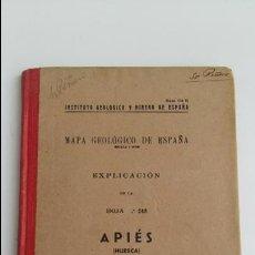 Libros de segunda mano: MAPA GEOLOGICO DE ESPAÑA. EXPLICACION DE LA HOJA Nº 248. APIES, HUESCA. 1951. Lote 115589387