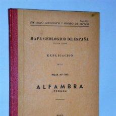 Libros de segunda mano: MAPA GEOLÓGICO DE ESPAÑA. ESCALA 1:50.000. EXPLICACIÓN DE LA HOJA NÚM. 542. ALFAMBRA (TERUEL). Lote 116126055