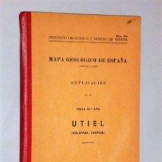 Libros de segunda mano: MAPA GEOLÓGICO DE ESPAÑA. ESCALA 1:50.000. EXPLICACIÓN DE LA HOJA NÚM. 693. UTIEL (VALENCIA-CUENCA). Lote 116130459