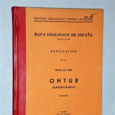 Libros de segunda mano: MAPA GEOLÓGICO DE ESPAÑA. ESCALA 1:50.000. EXPLICACIÓN DE LA HOJA NÚM. 844. ONTUR (ALBACETE-MURCIA). Lote 116125015