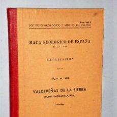 Libros de segunda mano: MAPA GEOLÓGICO DE ESPAÑA. EXPLICACIÓN DE HOJA NÚM. 485. VALDEPEÑAS DE LA SIERRA (MADRID-GUADALAJARA). Lote 116185811