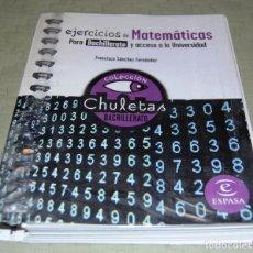 Libros de segunda mano de Ciencias: EJERCICIOS DE MATEMÁTICAS PARA BACHILLERATO Y ACCESO A LA UNIVERSIDAD.. Lote 116321911
