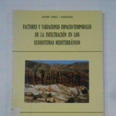 Libros de segunda mano: FACTORES Y VARIACIONES ESPACIO-TEMPORALES DE LA INFILTRACION EN LOS ECOSISTEMAS MEDITERRANEOS TDK341. Lote 117504183