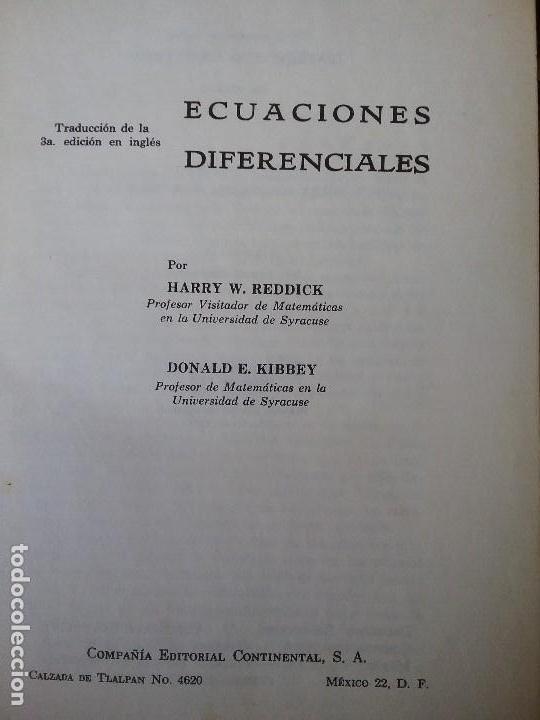 ECUACIONES DIFERENCIALES, DE REDDICK Y KIBBEY. PROBLEMAS RESUELTOS. MATEMATICAS. (Libros de Segunda Mano - Ciencias, Manuales y Oficios - Física, Química y Matemáticas)