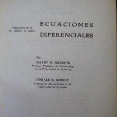 Libros de segunda mano de Ciencias: ECUACIONES DIFERENCIALES, DE REDDICK Y KIBBEY. PROBLEMAS RESUELTOS. MATEMATICAS.. Lote 118082151