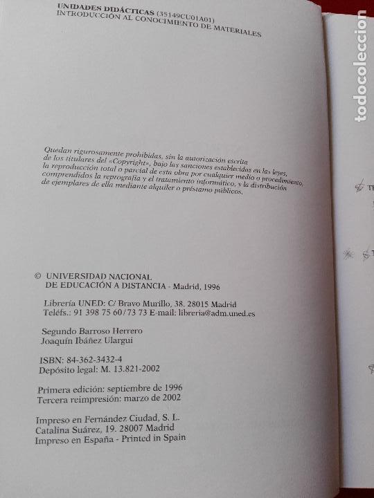 Libros de segunda mano de Ciencias: introducción al conocimiento de materiales-cuadernos uned-1996-3ªreimpresión-buen estado-ver fotos. - Foto 3 - 118948215