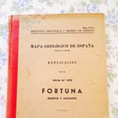 Libros de segunda mano: 1953 MAPA GEOLOGICO FORTUNA MURCIA Y ALICANTE GEOLOGIA GEOGRAFIA. Lote 39341334