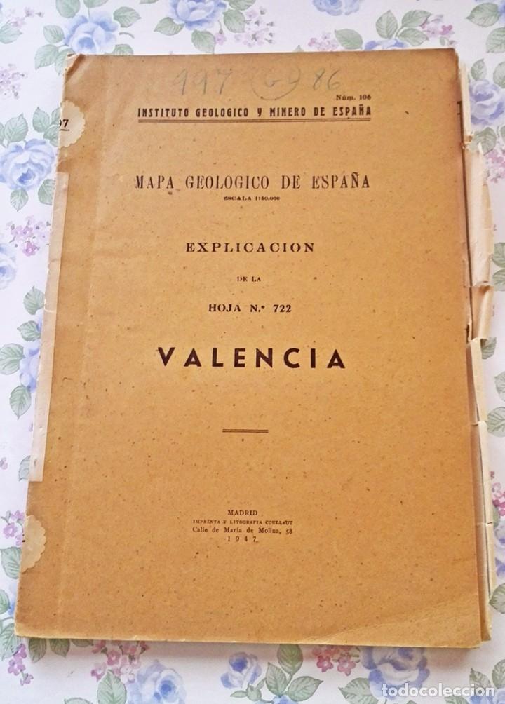 1947 MAPA GEOLÓGICO Nº 106 VALENCIA GEOLOGIA INSTITUTO MINERO (Libros de Segunda Mano - Ciencias, Manuales y Oficios - Paleontología y Geología)