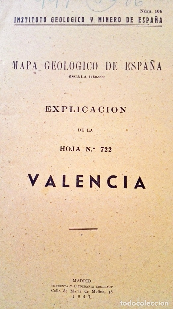 Libros de segunda mano: 1947 Mapa geológico nº 106 Valencia geologia instituto minero - Foto 2 - 39173681