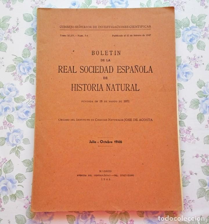 1946 TOMO 44 - Nº 7-8 (JULIO - OCTUBRE) BOLETÍN NARANJA HISTORIA NATURAL (Libros de Segunda Mano - Ciencias, Manuales y Oficios - Paleontología y Geología)