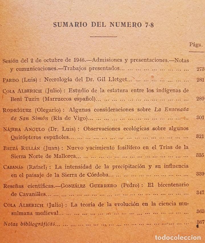 Libros de segunda mano: 1946 Tomo 44 - nº 7-8 (Julio - Octubre) Boletín naranja Historia Natural - Foto 2 - 121073687