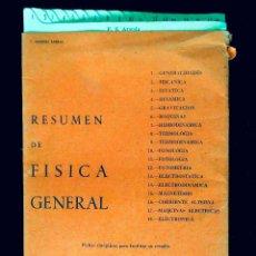 Libros de segunda mano de Ciencias: RESUMEN DE FISICA GENERAL. SISTEMA DIDACTOS, MADRID, 1962. FICHAS CRONOLOGICO-SINOPTICAS. Lote 121302471