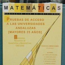 Libros de segunda mano de Ciencias: MATEMÁTICAS. PRUEBAS DE ACCESO A LAS UNIVERSIDADES ANDALUZAS (MAYORES 25 AÑOS) EXÁMENOS RESUELTOS. Lote 121319543
