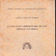 Libros de segunda mano: LA MAGNESITA SEDIMENTARIA DE LOS PIRINEOS NAVARROS (G. DE LLARENA 1952) SIN USAR. Lote 194363415