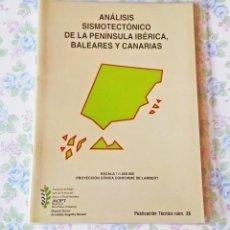 Libros de segunda mano: MAPA ESPAÑA ANÁLISIS SISMOTECTÓNICO PENÍNSULA IBÉRICA BALEARES Y CANARIAS SISMOLOGÍA. Lote 122191463