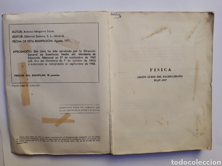 Libros de segunda mano de Ciencias: Ciencias física - física 6º curso del bachillerato plan 1957 Mingarro Summa 1971 - Foto 6 - 123580492