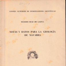 Libros de segunda mano: NOTAS Y DATOS PARA LA GEOLOGÍA DE NAVARRA (RUIZ DE GAONA 1952) SIN USAR. Lote 194363833
