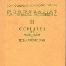Libros de segunda mano de Ciencias: OCULARES (M. EGÜES / P. JIMÉNES-LANDI 1947) SIN USAR. Lote 124406503