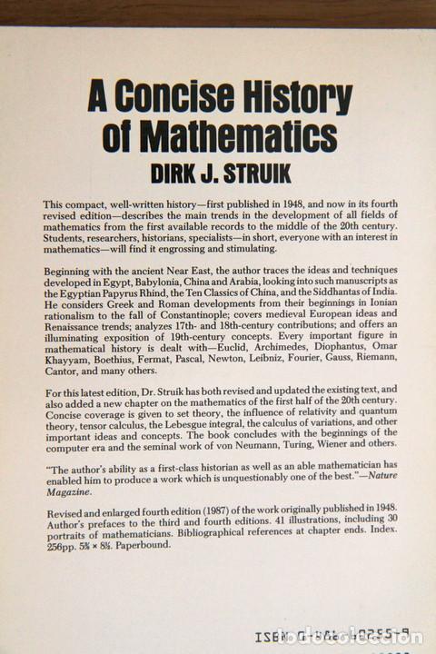 Libros de segunda mano de Ciencias: Dirk J. Struik. A Concise History of Mathematics - Foto 2 - 124703243