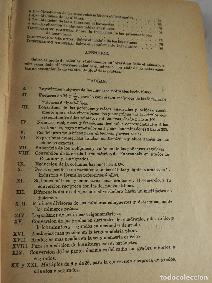 Libros de segunda mano de Ciencias: LIBRO TABLAS DE LOGARITMOS POR VICENTE VAZQUEZ QUEIPO - Foto 5 - 125815031