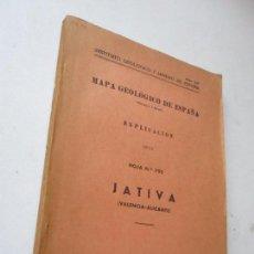Libros de segunda mano: MAPA GEOLÓGICO DE ESPAÑA, EXPLICACIÓN DE LA HOJA Nº. 795- JATIVA (VALENCIA-ALICANTE) 1961-TIP., LIT.. Lote 126008647