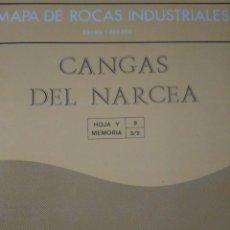 Libros de segunda mano: MAPA DE ROCAS INDUSTRIALES. CANGAS DEL NARCEA. INSTITUTO GEOLÓGICO Y INERO DE ESPAÑA. ESCALA 1:200.0. Lote 126122323