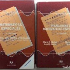 Libros de segunda mano de Ciencias: MATEMÁTICAS ESPECIALES Y PROBLEMAS DE MATEMÁTICAS ESPECIALES. ED. SANZ Y TORRES. 2 TOMOS. . Lote 126345019