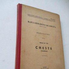 Libros de segunda mano: MAPA GEOLÓGICO DE ESPAÑA, EXPLICACIÓN DE LA HOJA Nº. 721- CHESTE, VALENCIA.-1956- TIP. LIT. COULLAUT. Lote 127450867