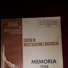 Libros de segunda mano: CENTRO DE INVESTIGACIONES BIOLOGICAS. MEMORIA 1966.. Lote 130738389