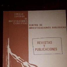 Libros de segunda mano: CENTRO DE INVESTIGACIONES BIOLOGICAS. REVISTAS Y PUBLICACIONES. 1977. Lote 130739084