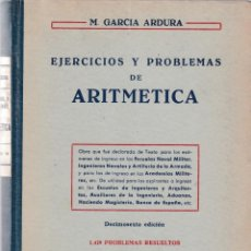 Livres d'occasion: ARITMETICA - EJERCICIOS Y PROBLEMAS - M. GARCIA ARDURA - MADRID 1960. Lote 131357066