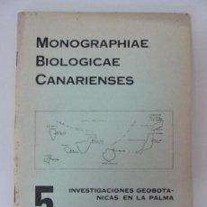 Libros de segunda mano: MONOGRAPHIAE BIOLOGICAE CANARIENSES - 5 INVESTIGACIÓN GEOBOTÁNICAS EN LA PALMA. LAS PALMAS 1974. Lote 133819978