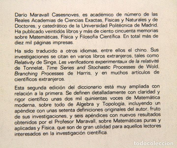 Libros de segunda mano de Ciencias: Dario Maravall Casesnoves. Diccionario de matemática moderna - Foto 2 - 134976234