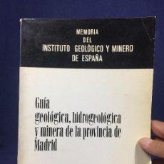 Libros de segunda mano: MEMORIA INSTITUTO GEOLÓGICO MINERO GUÍA HIDROGEOLÓGICA MINERA PROVINCIA MADRID JUAN PEREZ TOMO 76 . Lote 135289354