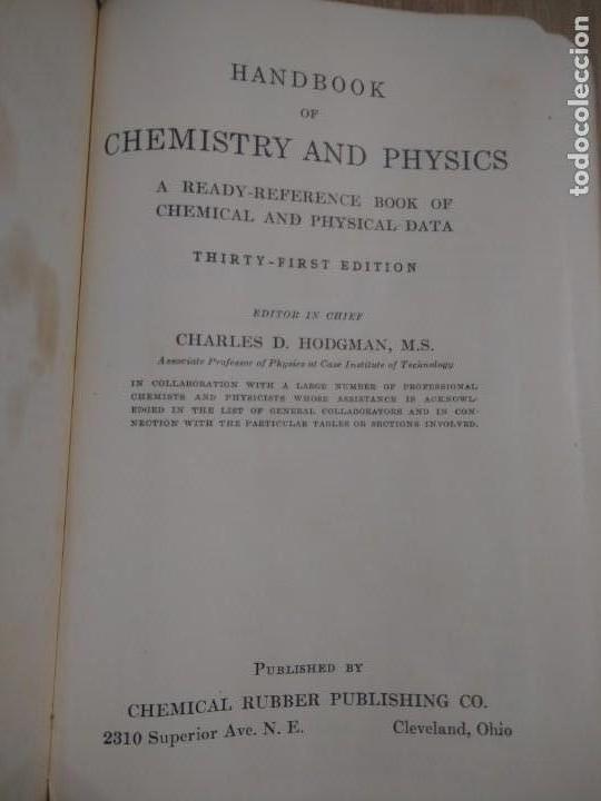 Libros de segunda mano de Ciencias: QUIMICA Y FISICA HANDBOOK OF CHEMISTRY AND PHYSICS - Foto 3 - 135310142